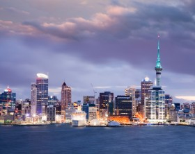 Auckland Skyline Twilight - Auckland, New Zealand's largest city, under a dramatic twilight sky.