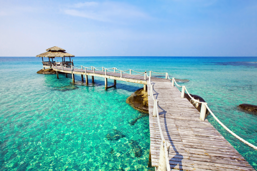 beautiful paradise tropical beach with turquoise transparent water