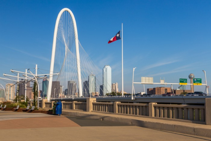 Dallas downtown skyline and Margaret hut hills bridge from Continental bridge park, Texas