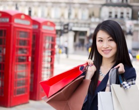 young chinese tourist shopping in London