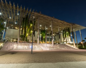MIAMI, FLORIDA/UNITED STATES - OCTOBER 4, 2015: The Pérez Art Museum Miami (PAMM) is a contemporary art museum designed by Herzog & de Meuron located in Downtown Miami, Florida.