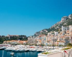City Pier, Jetty In Sunny Summer Day. Monaco, Monte Carlo architecture.