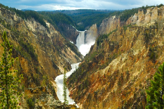 Waterfall and a stream of silver in the Grand Canyon of Yellowstone