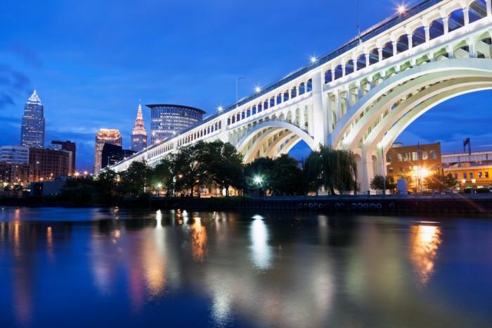 Cleveland skyline seen accross Cuyahoga River.