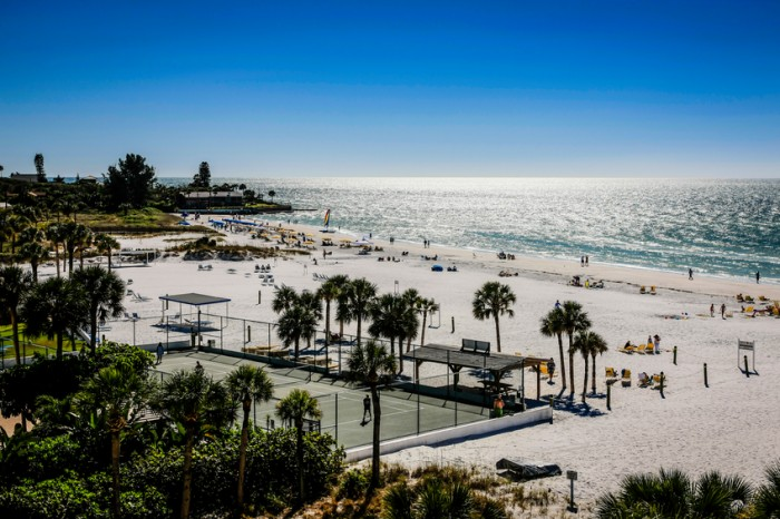 Siesta Key, FL, USA - November 19, 2012:Siesta Key beach on the Gulf of Mexico from the top of a beachfront apartment block at Crescent beach on Siesta Key, Sarasota in Florida