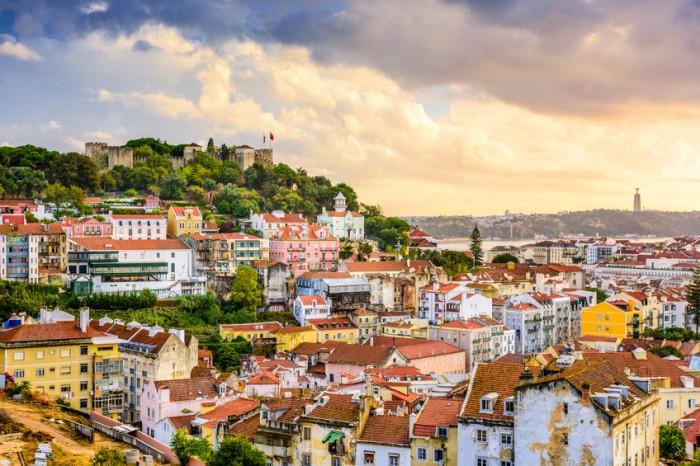 Lisbon, Portugal skyline at Sao Jorge Castle at dusk.