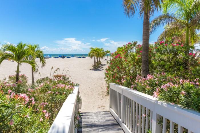 Boardwalk on beach in St. Pete, Florida, USA