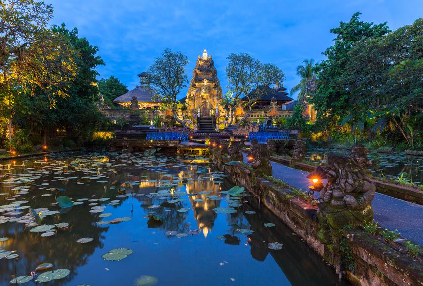 Pura Saraswati Temple with beatiful lotus pond at dusk before the dancing show, Ubud, Bali, Indonesia