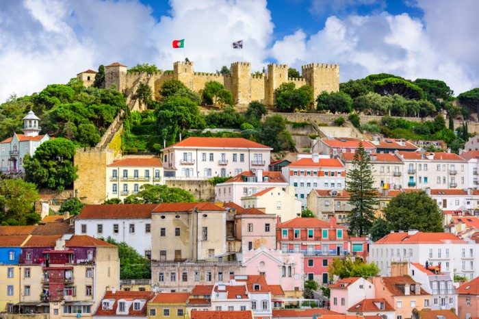 Lisbon, Portugal - October 11, 2014: Sao Jorge Castle in Lisbon. The castle was originally built by the Moors and extensively rebuilt by the Portuguese in the early 1600's.