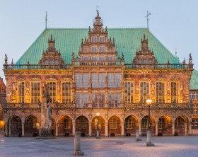 Town Hall in Bremen, with the Roland Statue in the foreground.