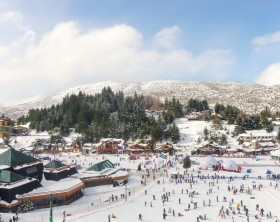 An aerial view of the skiing center in Cerro Catedral (Cathedral Mountain), near Bariloche in Argentina, taken from the chairlift.