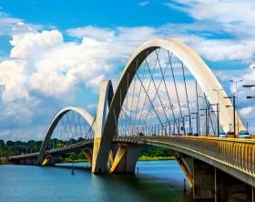Brasilia, Brazil - November 19: Traffic on JK Bridge crossing Lake Paranoa in Brasilia, capital of Brazil. Inaugurated in December 2002, the bridge instantly became a symbol of the city.