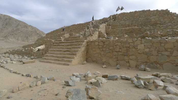 One of the pyramids in Caral of about 5000 years old. Caral was the capital of Caral Civilization, the first of America. Caral is considered by UNESCO as a World Heritage Site. It is located in the Supe Valley, 200 kilometers north of Lima, Peru