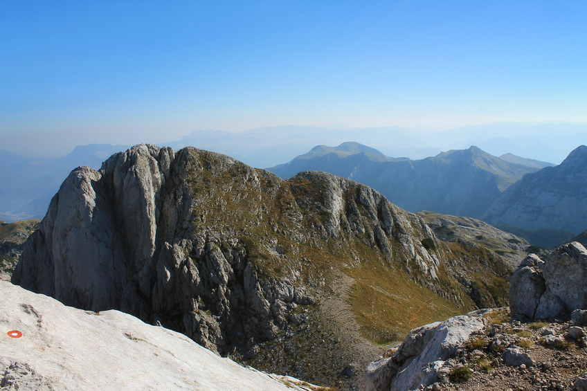 Mount Prenj. Hard rocky terrain on the mountain.