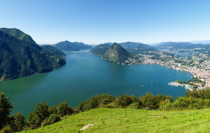 Lugano, Switzerland - Juli 31, 2014: Images of the Gulf of Lugano from Monte Br?? above the City.