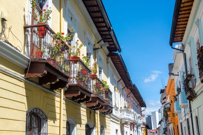 Row of historic colonial balconies in the center of Quito, Ecuador