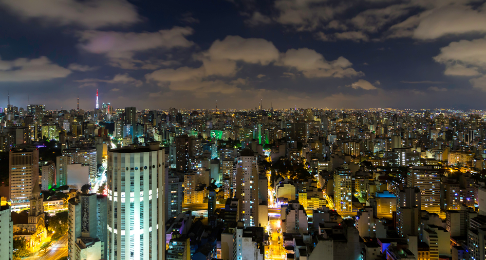 Aerial view of Sao Paulo at night in Brazil