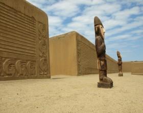 Adobe walls of Chan Chan, outside of Trujillo, Peru.