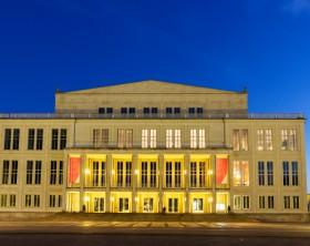 Leipzig Opera at sunrise. Leipzig, Saxony, Germany