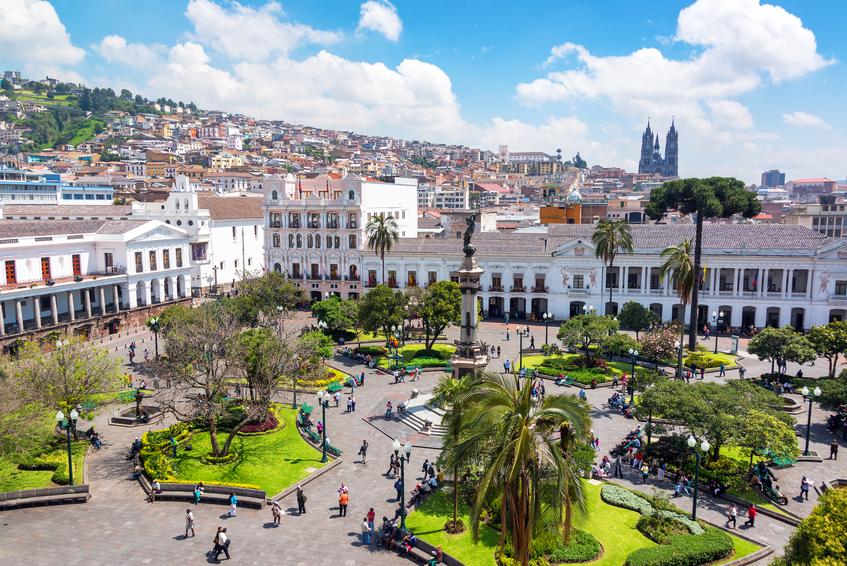 Quito, Ecuador - March 6, 2015: Activity in the Plaza Grande in the colonial center of Quito, Ecuador on March 6, 2015