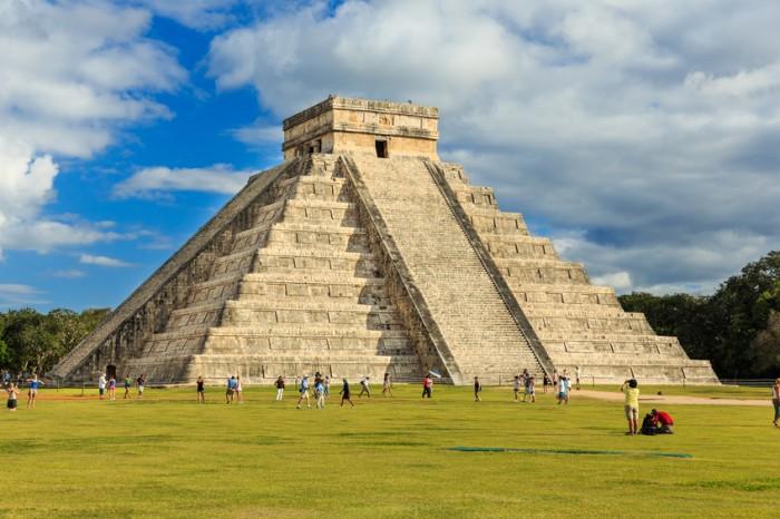 Chichen-Itza, Mexico - January 30, 2014: Pyramid of Kukulcan El Castillo in Chichen-Itza (Chichen Itza), Mexico