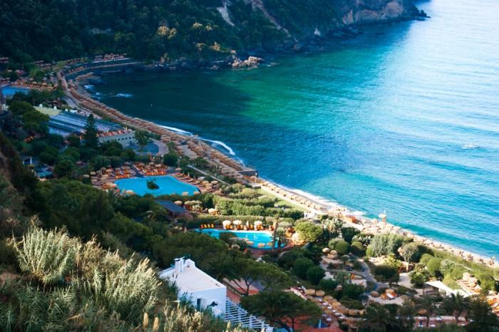 Aerial view to a beautiful Giardini Poseidon Terme, Ischia, Italy, Campania.