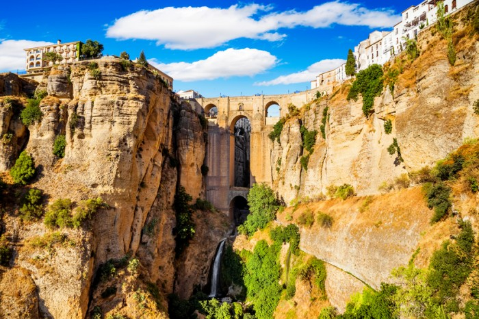 Panoramic view of the old city of Ronda, one of the famous white villages in the province of Malaga, Andalusia, Spain