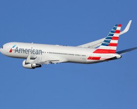 Barcelona, Spain - December 11, 2014: An American Airlines Boeing 767-300 with the registration N349AN taking off from Barcelona Airport (BCN) in Spain. American Airlines is the world's largest airline with 619 aircraft and 108 million passengers. It is headquartered in Fort Worth, Texas.