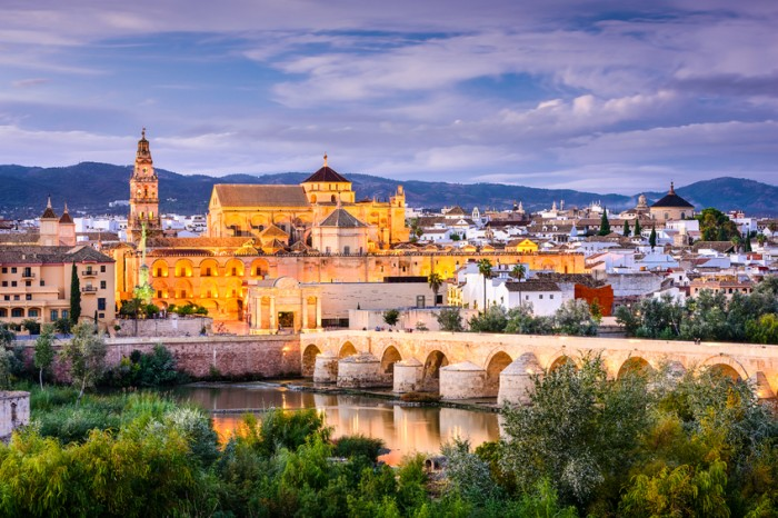 Cordoba, Spain old town skyline at the Mosque-Cathedral.
