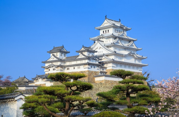 Hyogo, Japan - March 31, 2015 : The Himeji castle or White Heron Castle, one of the most popular spot for view the cherry blossom bloom, was built in 1333.