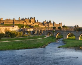 View of Carcassonne dark, Languedoc-Rosellon (France)
