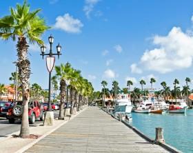 Harbor on Aruba island  in the Caribbic sea