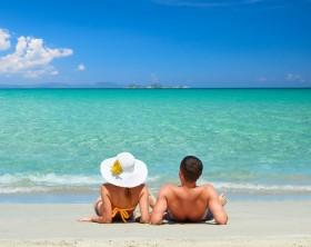 Couple on a tropical beach.