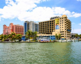 Clearwater, FL, USA - April 21, 2016: Waterfront hotels at Clearwater beach and marina in Florida