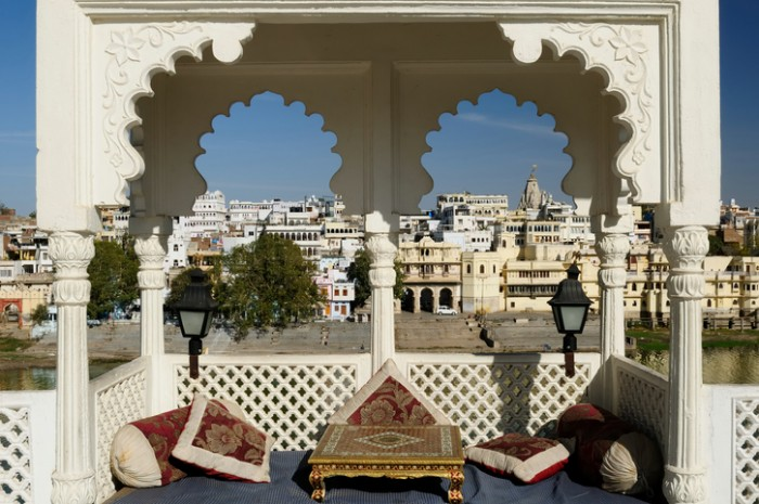Viev on the City Palace in Udajpur, India. Rajasthan