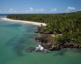 Aerial view of Morer? Beach, in Boipeba Island, Bahia, Brazil Coast