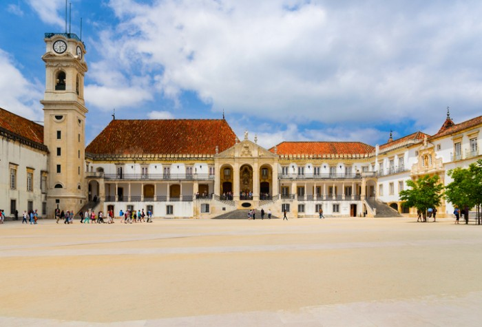 view of Coimbra university at sunny weather, Portugal