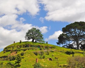 Matamata, New Zealand - January 28, 2012: The real Middle-Earth at the 1250 acres farmland near Matamata, a small town in the north island of New Zealand. The set has been completely rebuilt for The Hobbit and will remain as it was seen in these films and The Lord of the Rings film trilogy.
