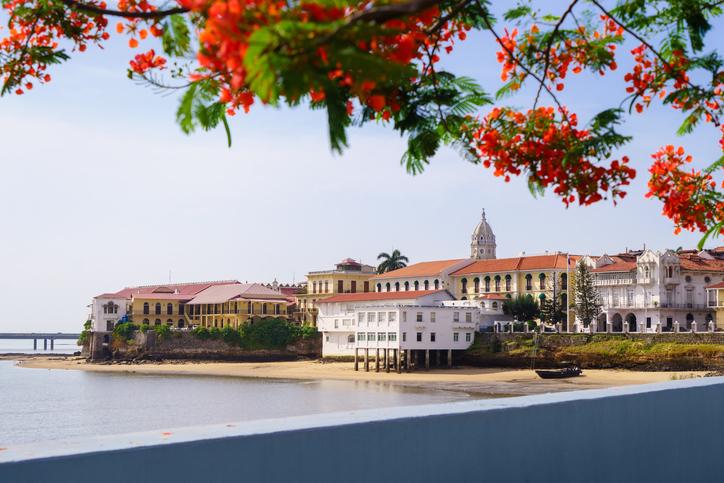 Tourist attractions and destination scenics. View of Casco Antiguo in Panama City