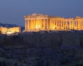 Parthenon on Acropolis Hill during blue hour