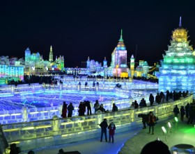 Harbin, China, 02/04/2014, International Ice Festival at night. Different illuminated iced sculptures displayed in the northeastern city of Harbin, China during their winter festival.
