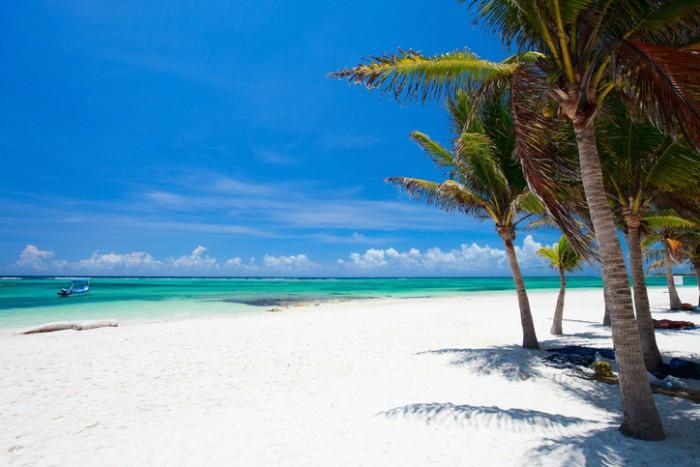 Beautiful white sand beach in Akumal Mexico