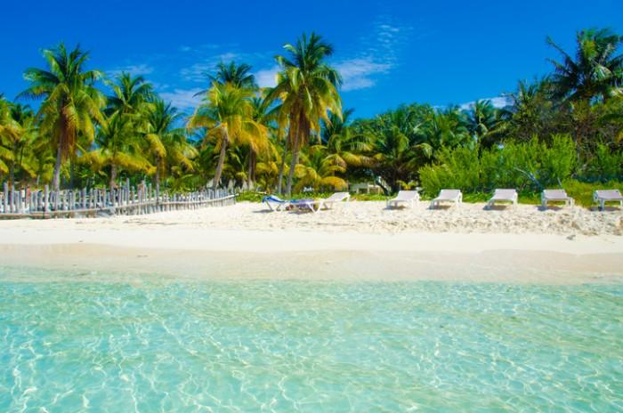Beach on the island Isla Mujeres in Yucatan Mexico