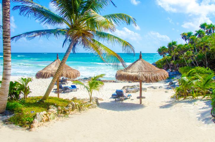 Beach at Tulum in Yucatan Mexico
