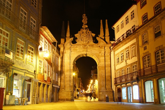 Arch of the New Gate (Arco da Porta Nova) and the entrance to the medieval wall of the city in Braga, Portugal