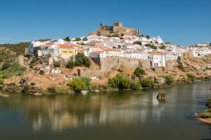 View of Mertola Town and the Guadiana River on foreground in Alentejo, Portugal