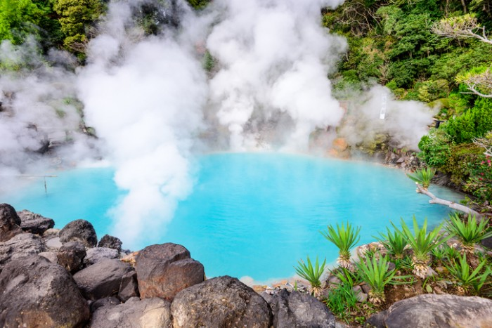 """Beppu, Japan at the Sea """"Hell"""" hot spring so named for its blue water."""
