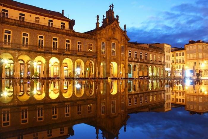 Republic square (Praca da Republica) and Igreja da Lapa in Braga, Portugal