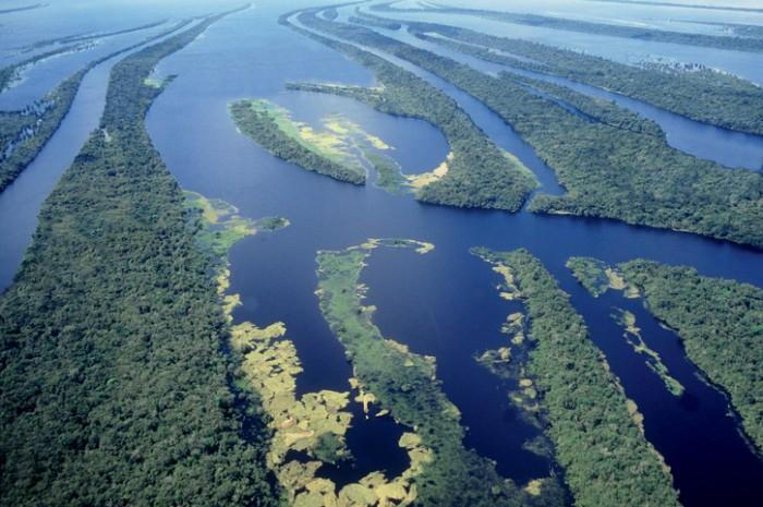 Vista a?rea e parcial do segundo maior conjunto de ilhas fluviais do mundo, com cerca de 400 delas formando um arquip?lago no Rio Negro, no estado do Amazonas, no Brasil.