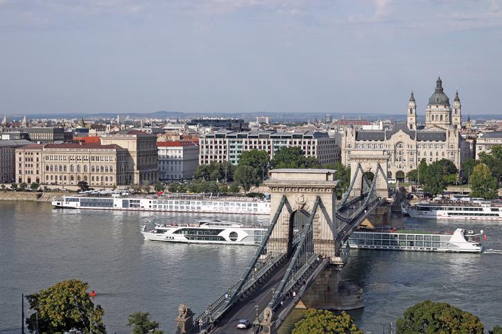 cruiser under Chain bridge Budapest